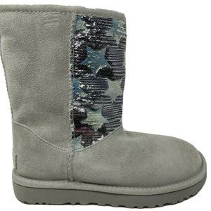 UGG Gray Violet Sequin Star Classic Short Suede